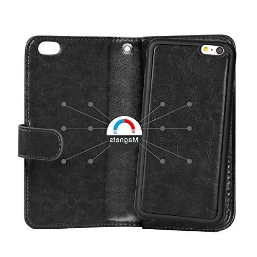 iPhone Case, 2 in 1 6S Wallet Folio Flip Case Protective Magnetic Slim Cover Holder Slot Wrist for 6 6S 4.7 inch