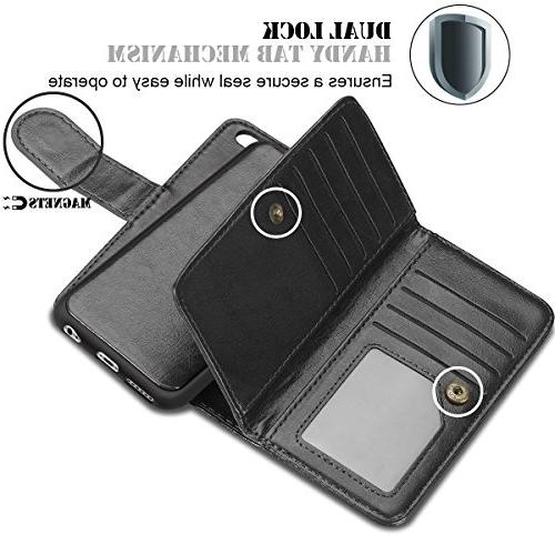 iPhone 2 6S Folio Flip Protective Magnetic Detachable Slim Back Holder Strap for iPhone 4.7 inch