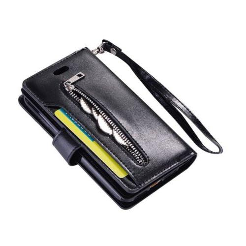 For 6S 7/8 +XS XR Card Wallet Leather Zippe Phone