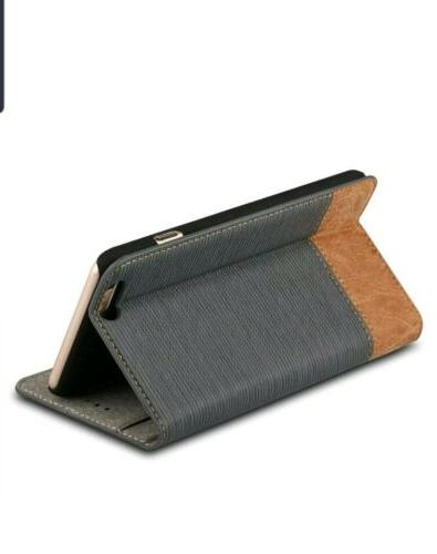 """iPhone 6s Plus 5.5"""" Wallet case, WenBelle Fabric and Leather"""
