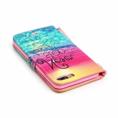 For iPhone 7/8 Cute Leather Magnet Wallet Stand Case Cover