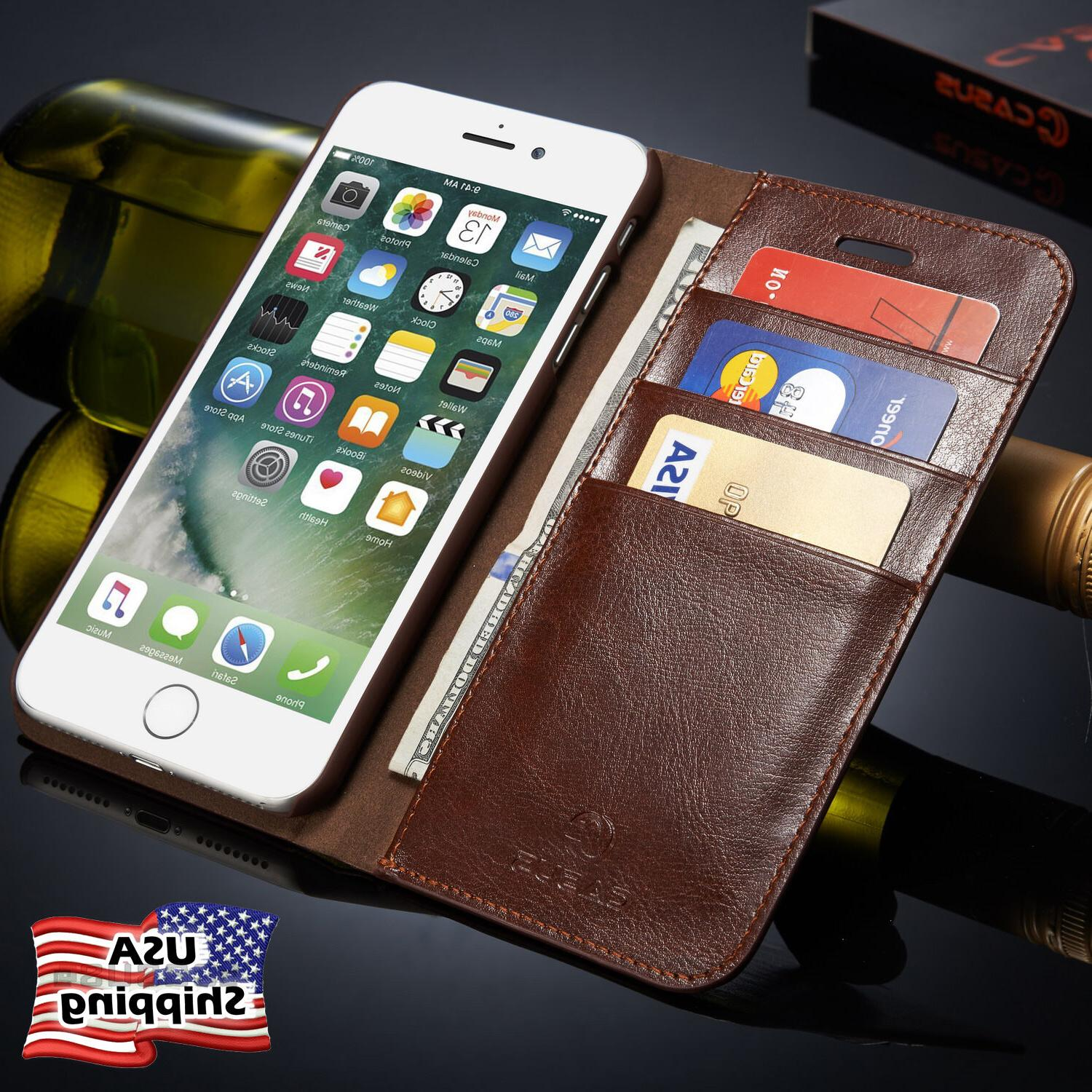Genuine Leather Wallet Card Holder Flip Case Cover for iPhon