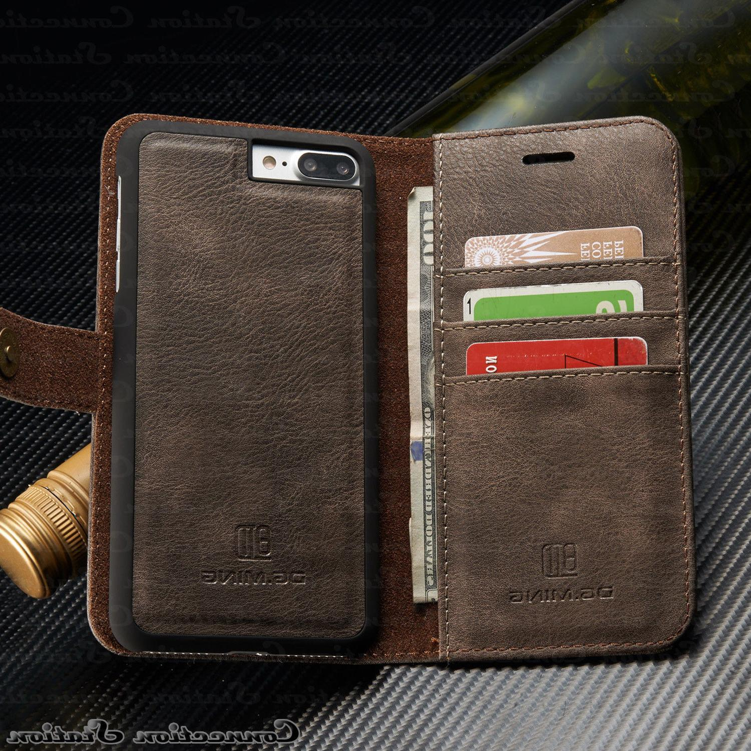 iPhone X 7 Leather Magnetic Removable Wallet Case