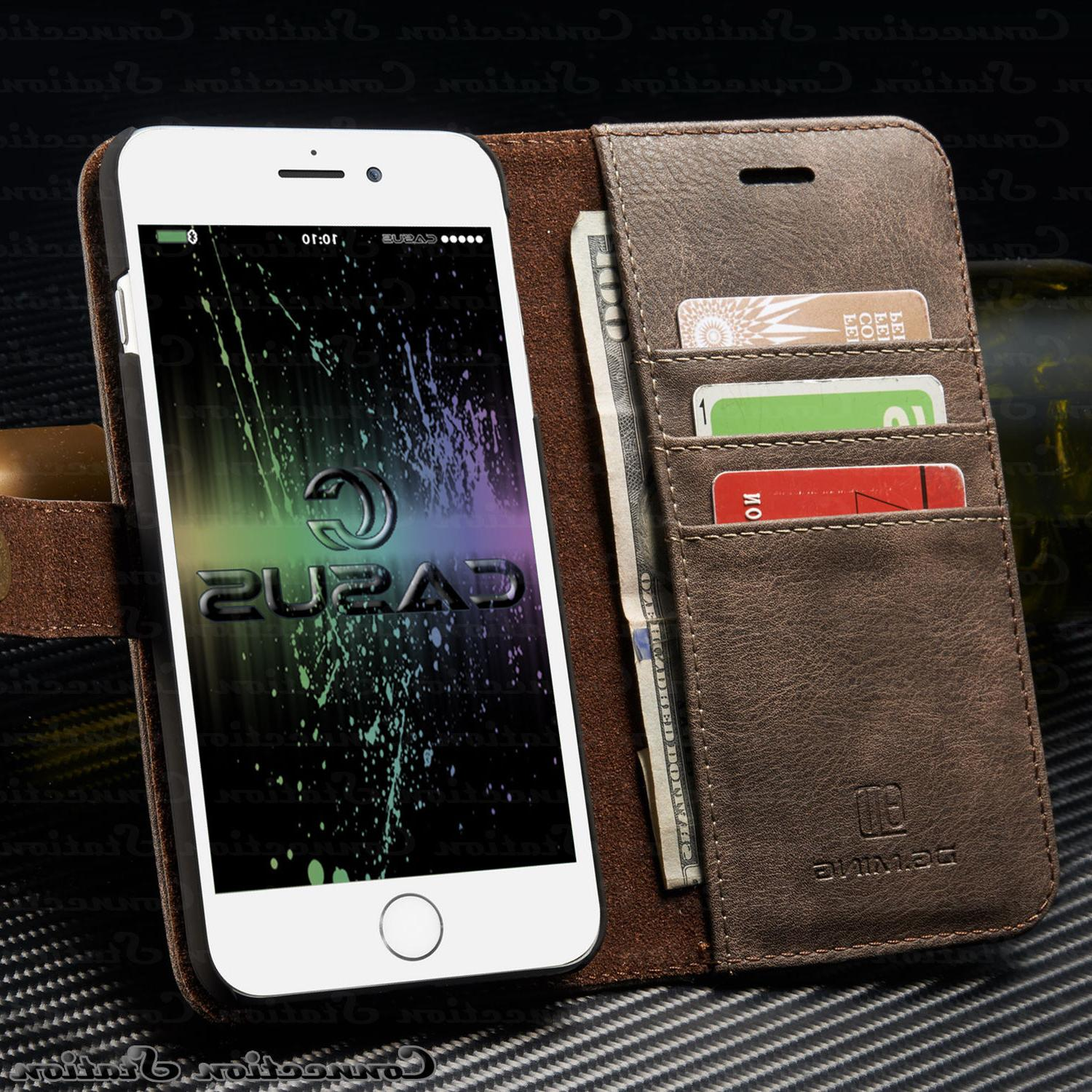 iPhone XR X 8 Leather Magnetic Cover Removable Wallet