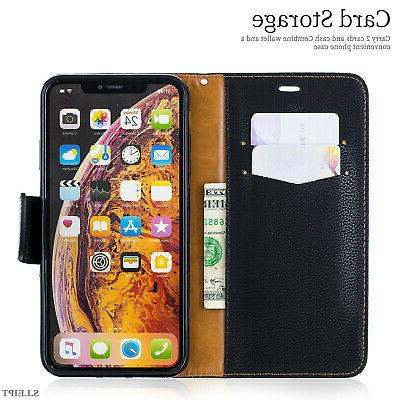 For iPhone 7 X Max Slot Leather Case Cover