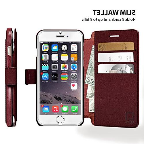 iPhone 8 Wallet Case, Lightweight with & Closure, Faux Leather, Burgundy, 8 Plus