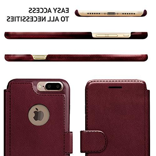 iPhone Plus Case, Lightweight with Classic & Faux Burgundy, 8 Plus