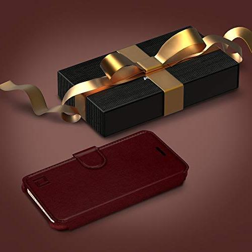 iPhone 8 Case, Slim, Lightweight with Design & Ultra-Strong Magnetic Faux Leather, Burgundy, 8 Plus