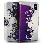 FOR IPHONE X 10 | PURPLE VINES FLIP JACKET WALLET POUCH CASE