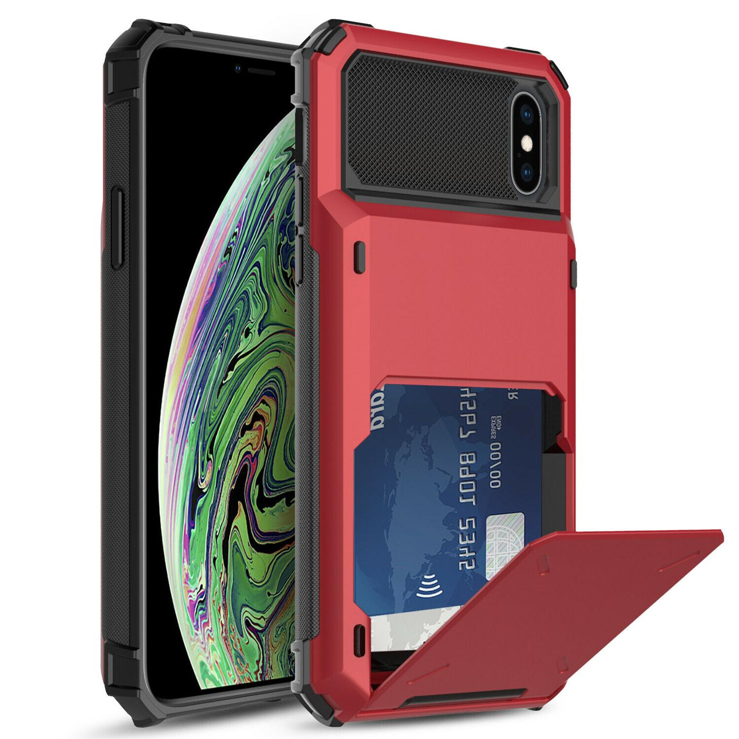 For Shockproof Rugged With Card Wallet Slot