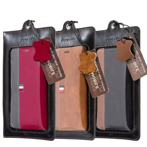 For iPhone X Wallet Phone Case Genuine Leather Cover Pouch Card