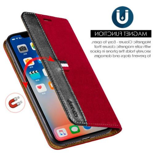 For X XS Wallet Phone Case Leather Pouch Flip Card Holder