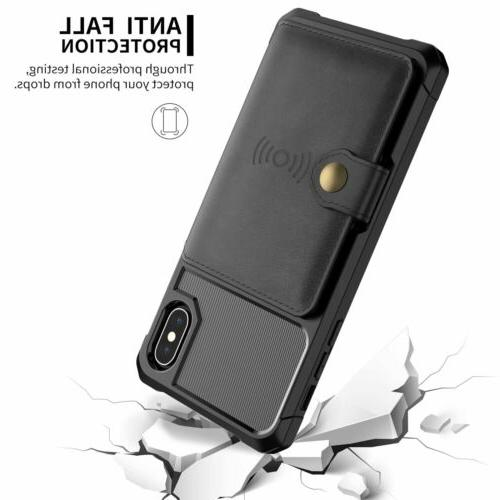 iPhone Max Xr X 7 8 Leather Car Holder Stand Case