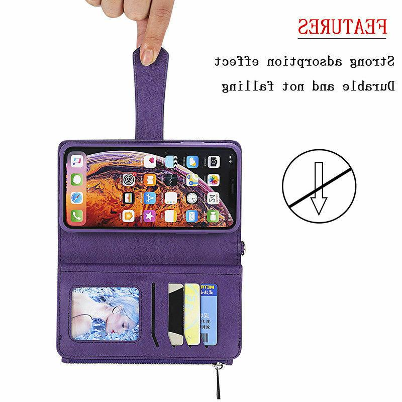 For XS Max XR 6 6s Removable Leather Zipper Purse