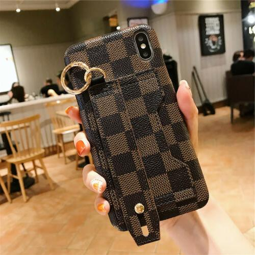 For XR 6s Plus PU Leather Wrist Card Case Cover