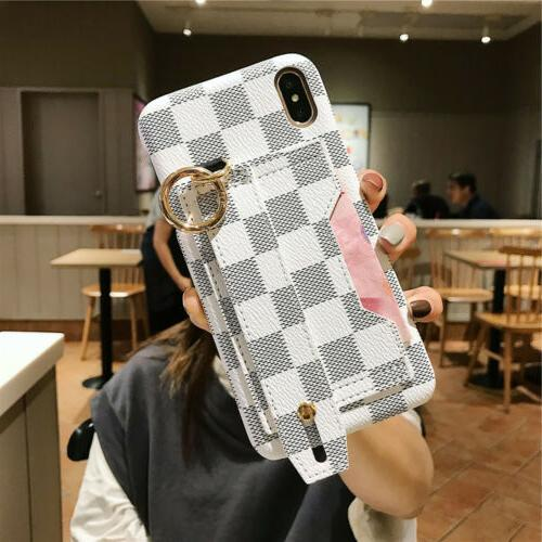 For iPhone Max XR X 7 6s Wrist Card Wallet Case Cover