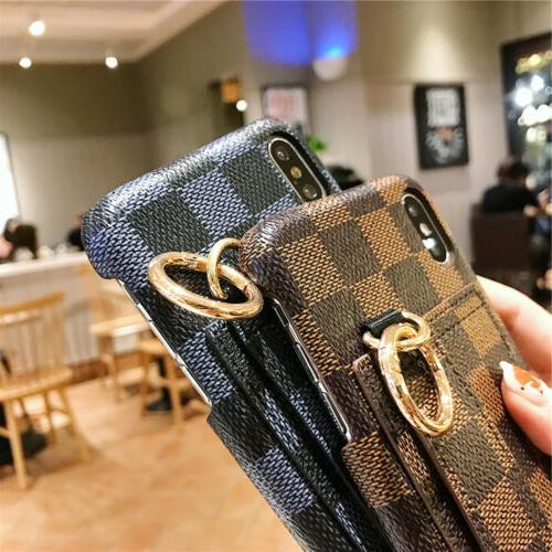 For XS XR X 6s Wrist Strap Card Case Cover