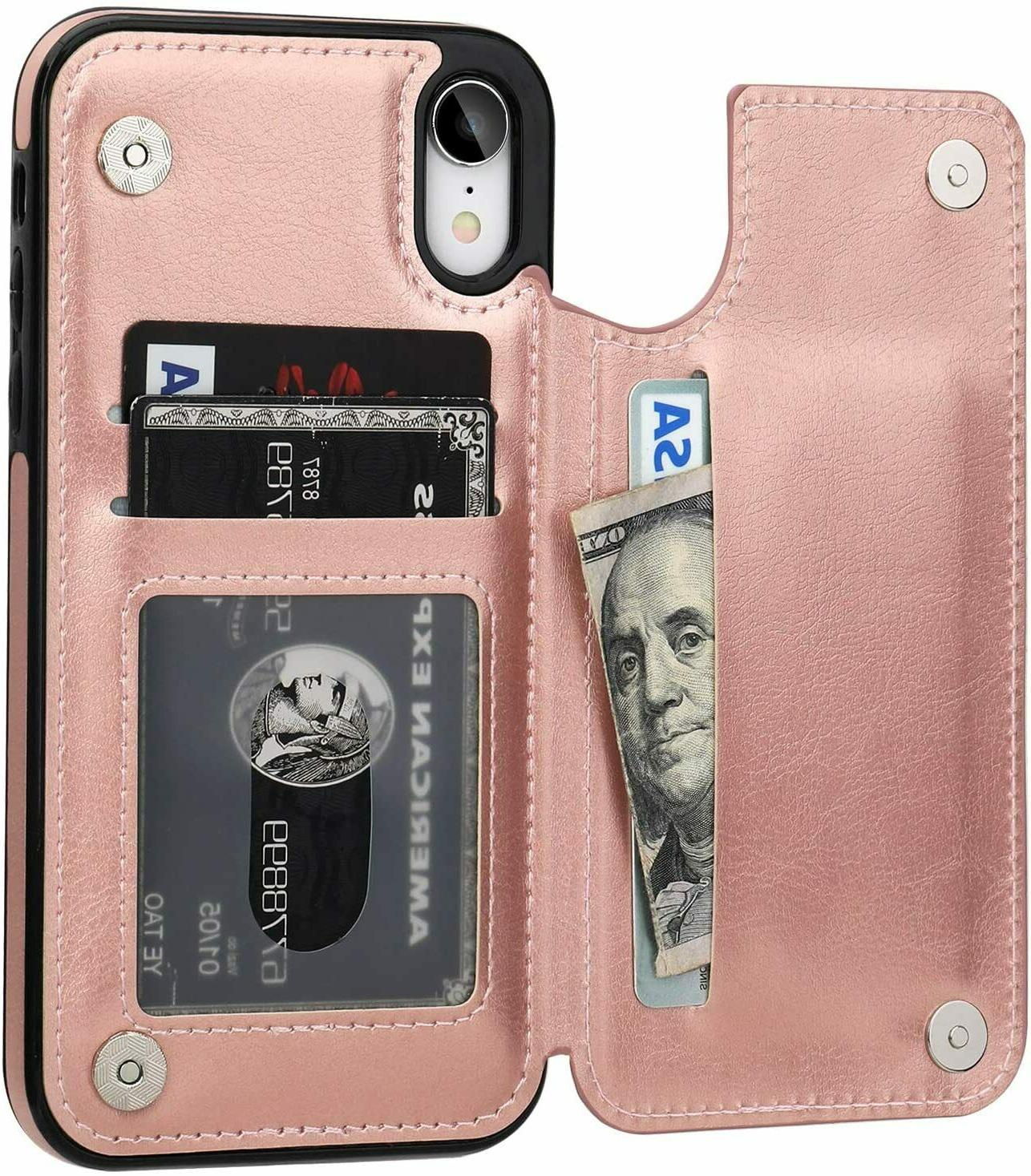 Leather iPhone X Xs Max Cover Stand for Apple