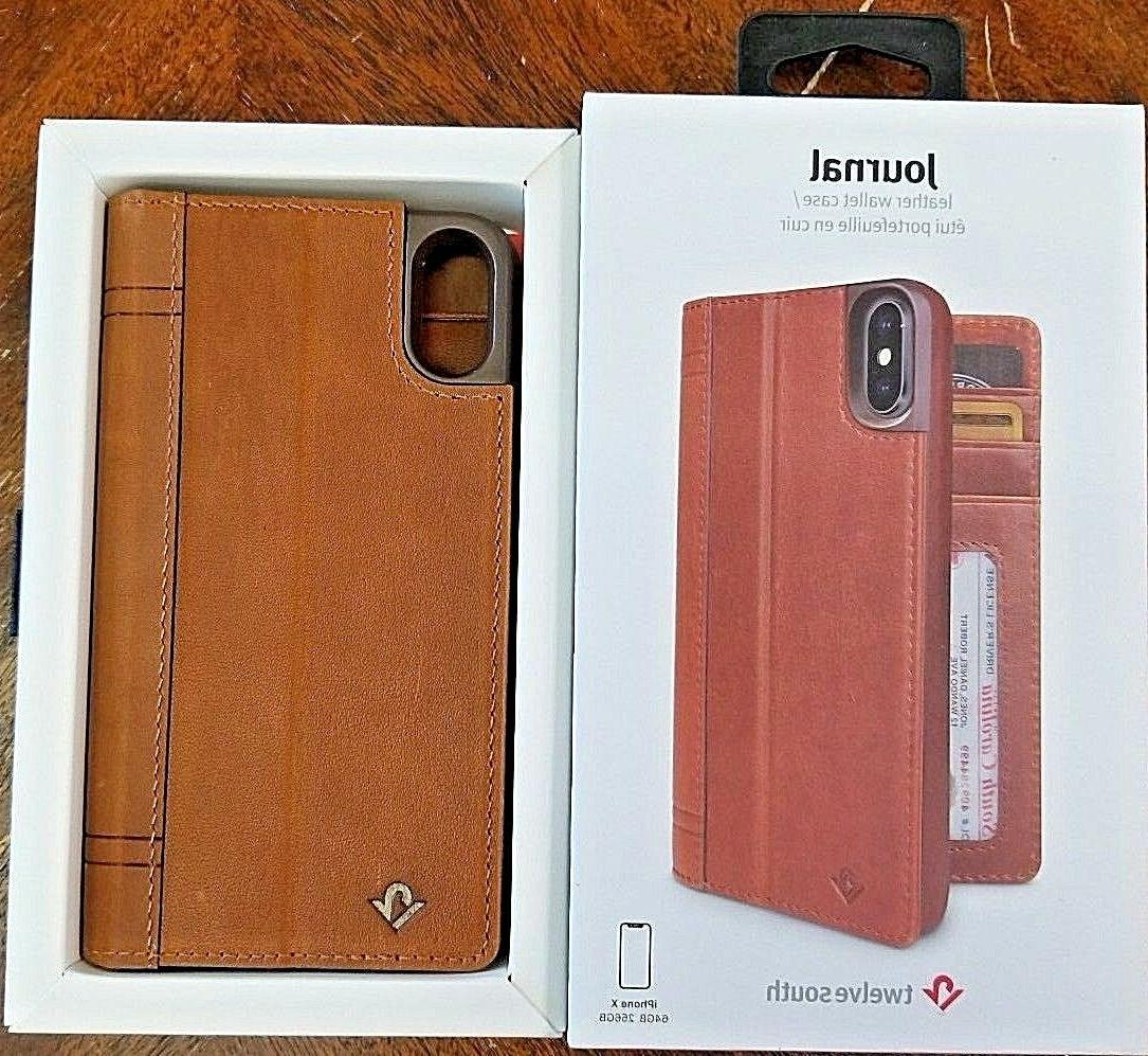 Twelve South Journal for iPhone X | Leather Wallet Shell & D