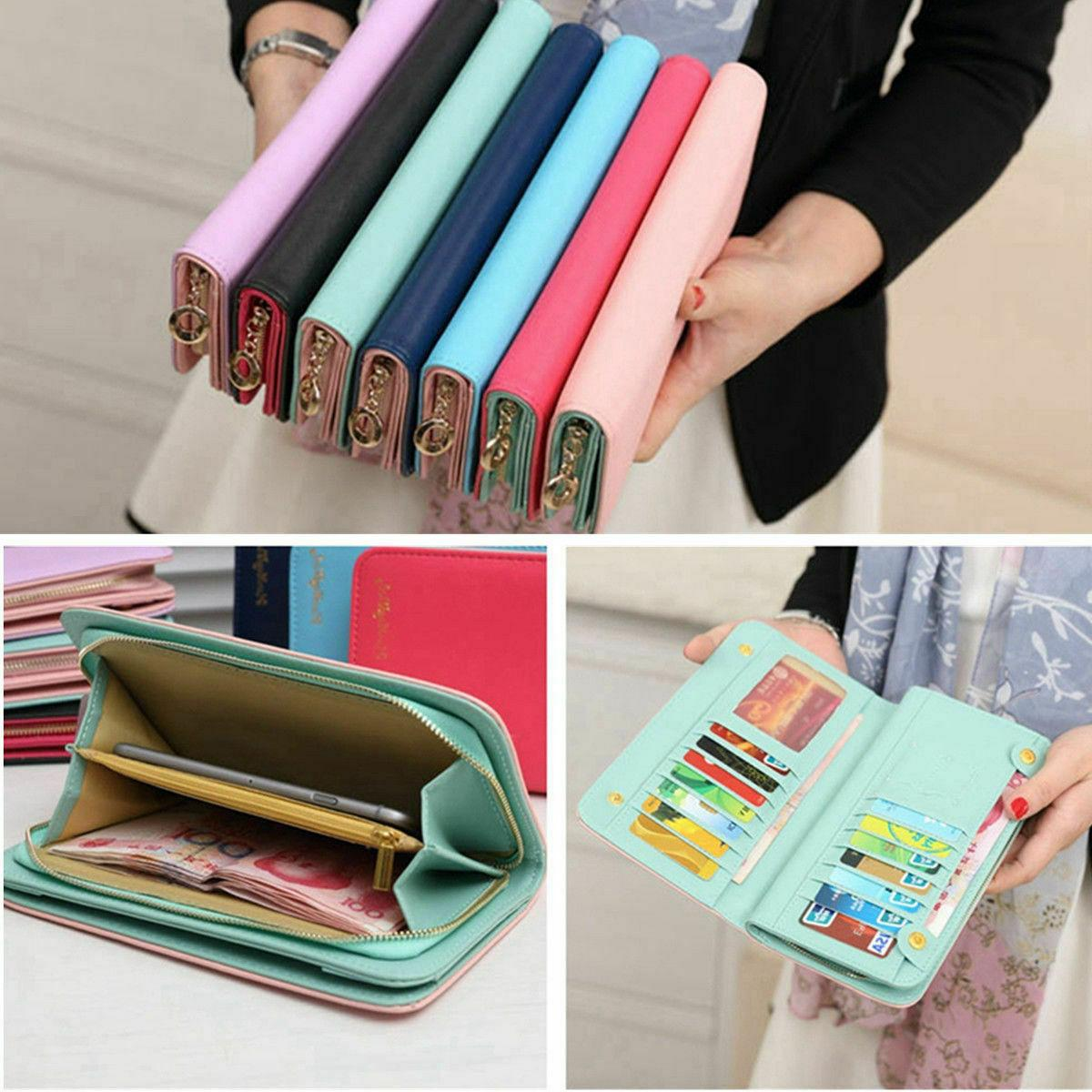 large capacity women wallet leather clutch card