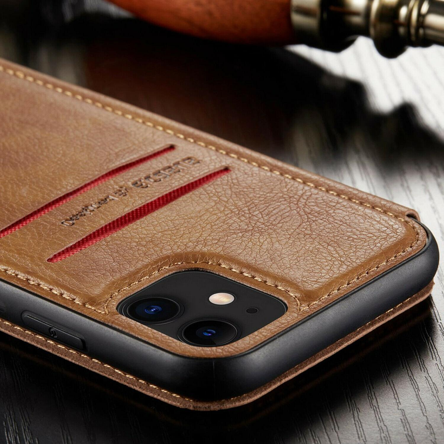 Leather Back Wallet Magnetic Flip Cover Slim For iPhone XS MAX XR