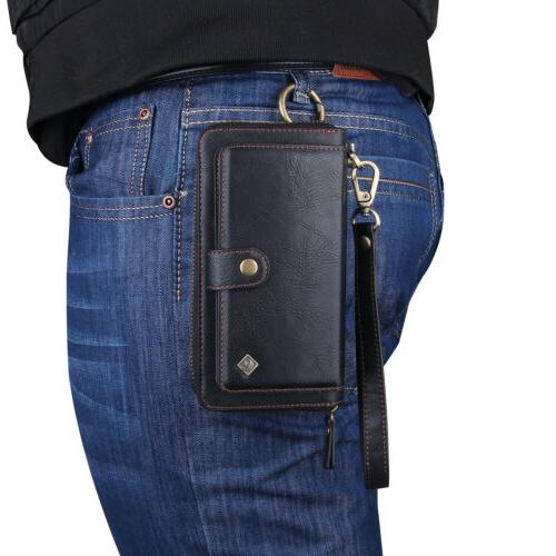 Leather Wallet Magnetic Zipper Galaxy Note