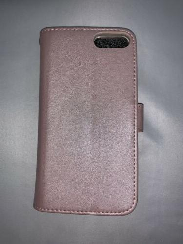 Leather Gear Folio Wallet iPhone 7 Wristlet Glitter Pink
