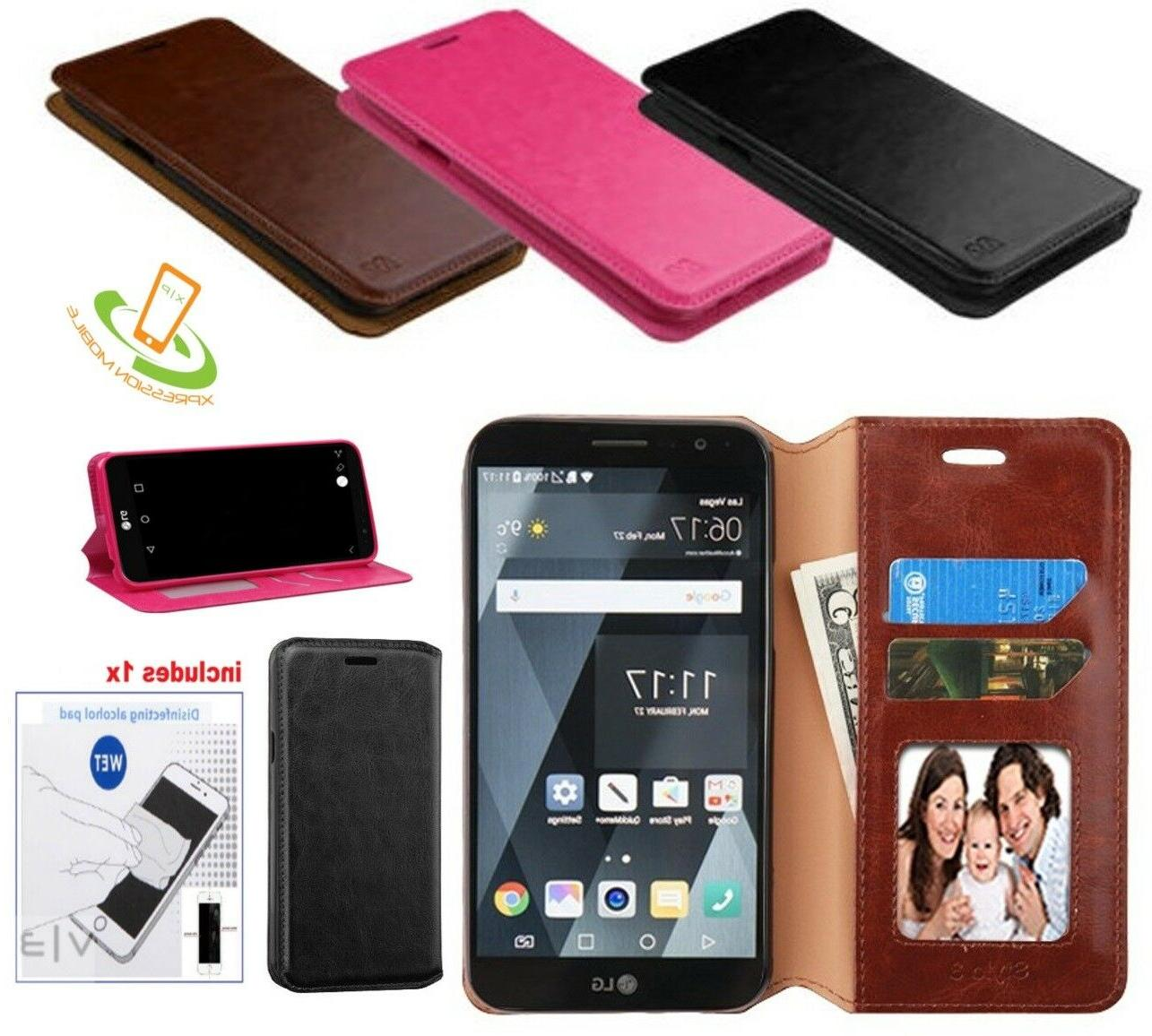 Leather Flip Card Wallet Case Phone Cover Pouch +Kit For Sam