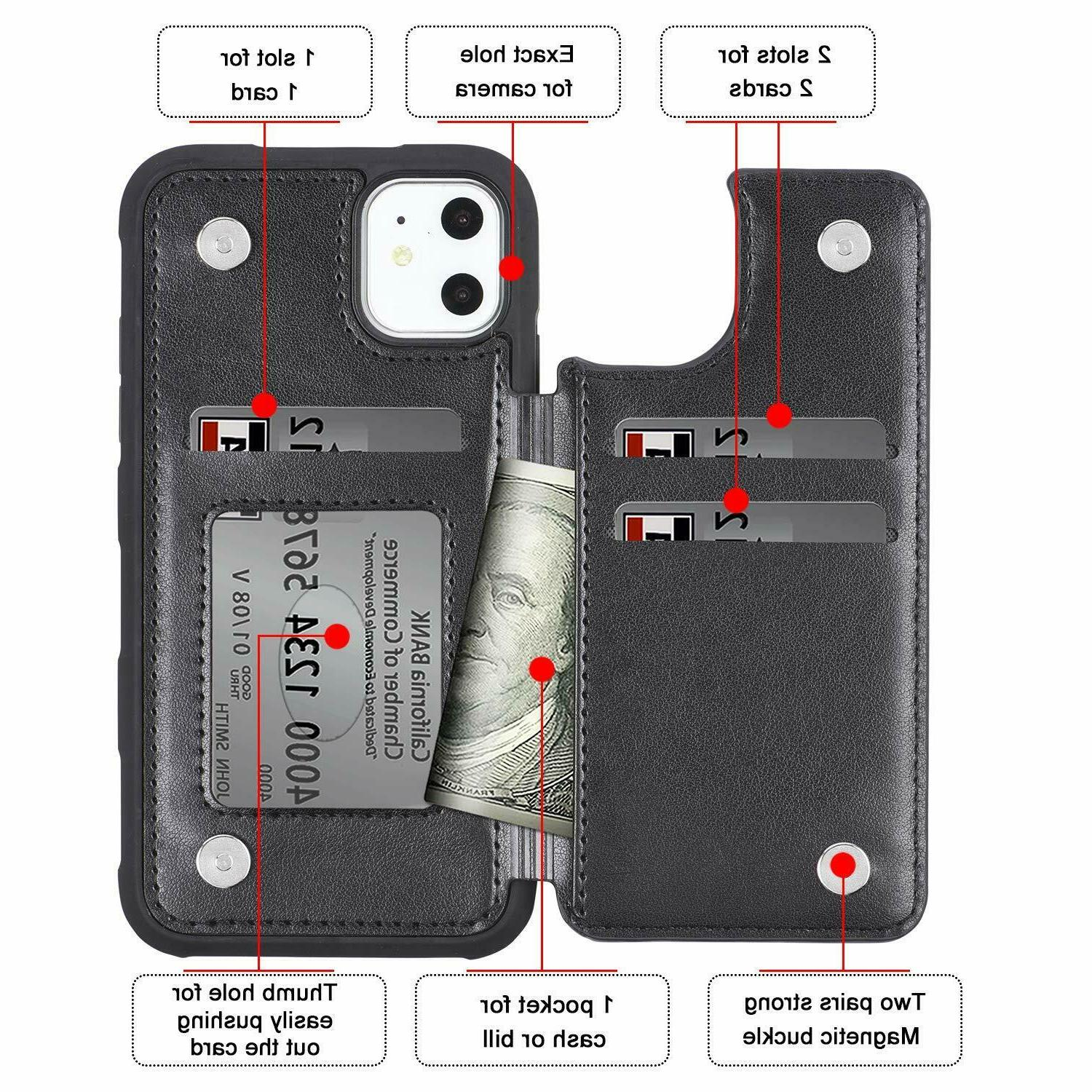 Leather Flip Card Holder Case Apple iPhone Max 8 7
