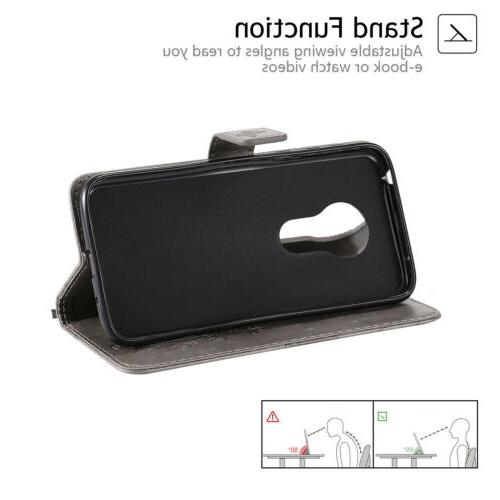 Leather Magnetic Stand Case Cover Motorola Plus Z4 Play