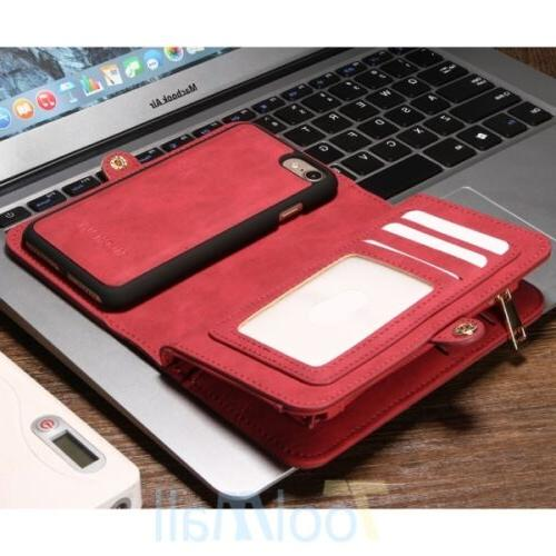 Leather Removable Wallet Flip Card Case Cover For 8 6