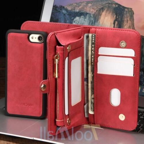 Leather Wallet Magnetic Flip Card Case Cover 6