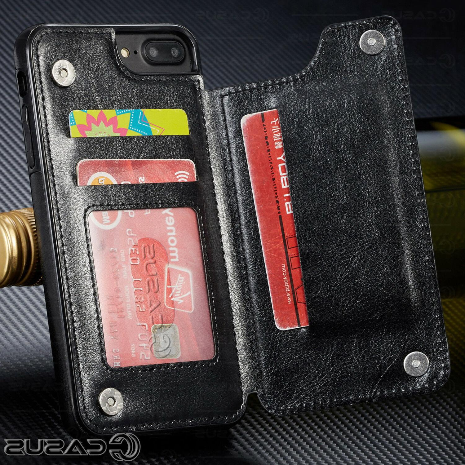 Leather Wallet Flip Case FOR iPhone &