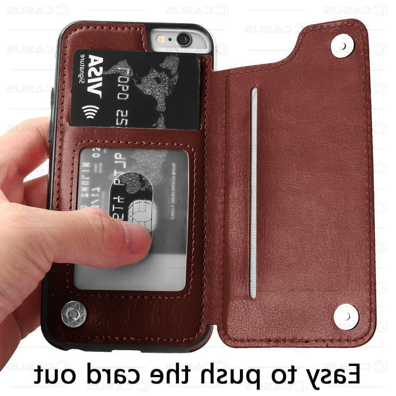 Leather Back Flip Cover Thin Case iPhone & 8/7/6 Plus
