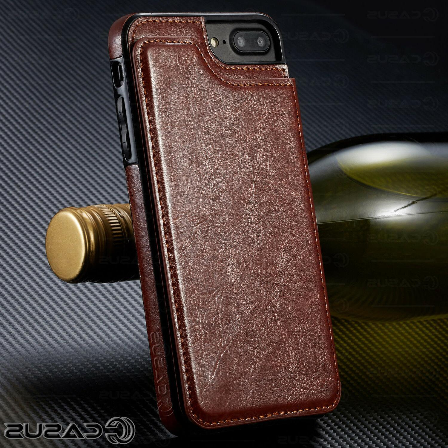 Leather Magnetic Flip Cover Thin Case FOR iPhone &