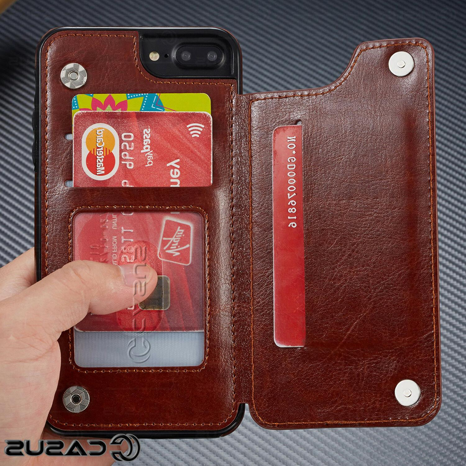 Leather Wallet Back Magnetic Flip Thin Case iPhone & Plus