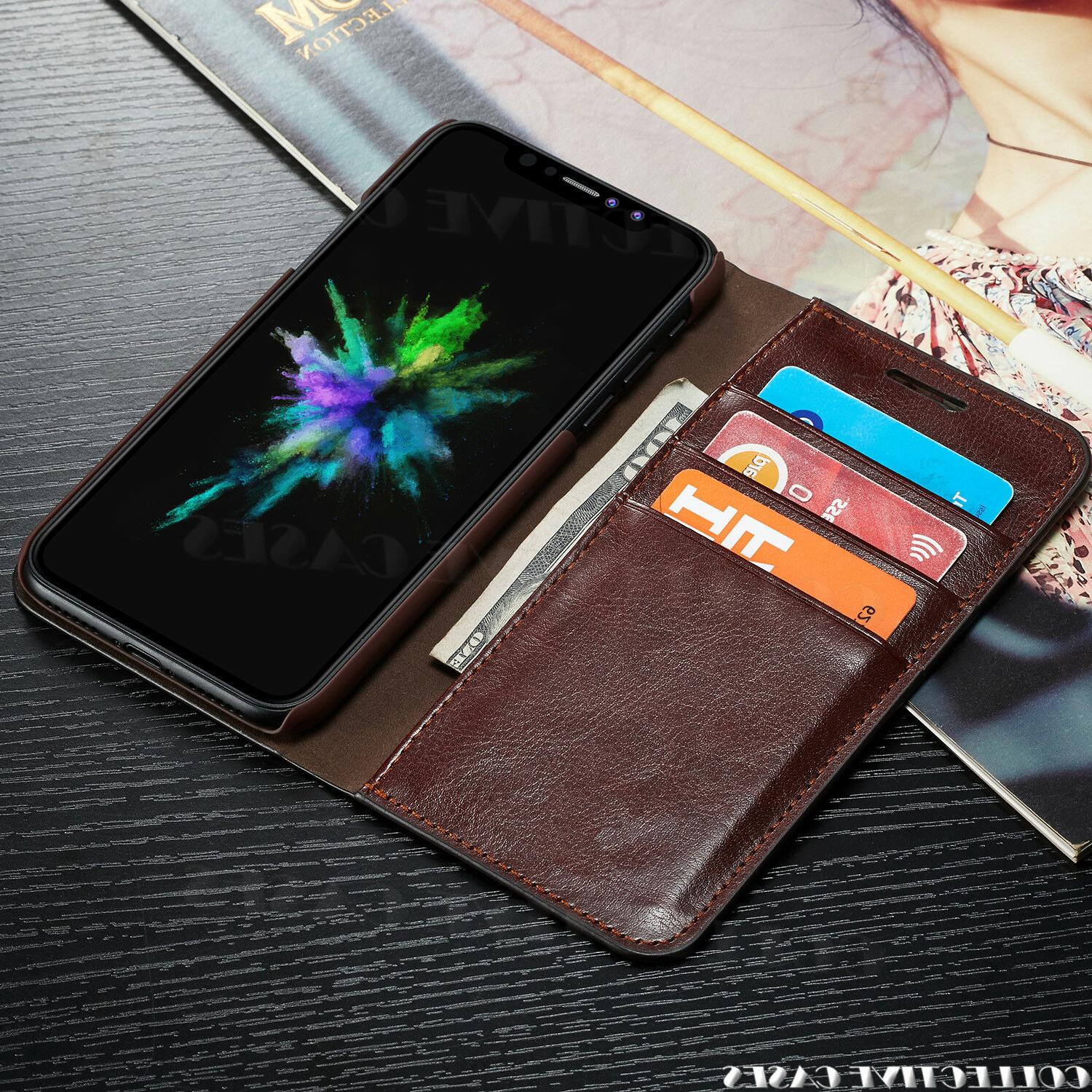 Leather Wallet iPhone Card Slot Flip Cover Case For iPhone