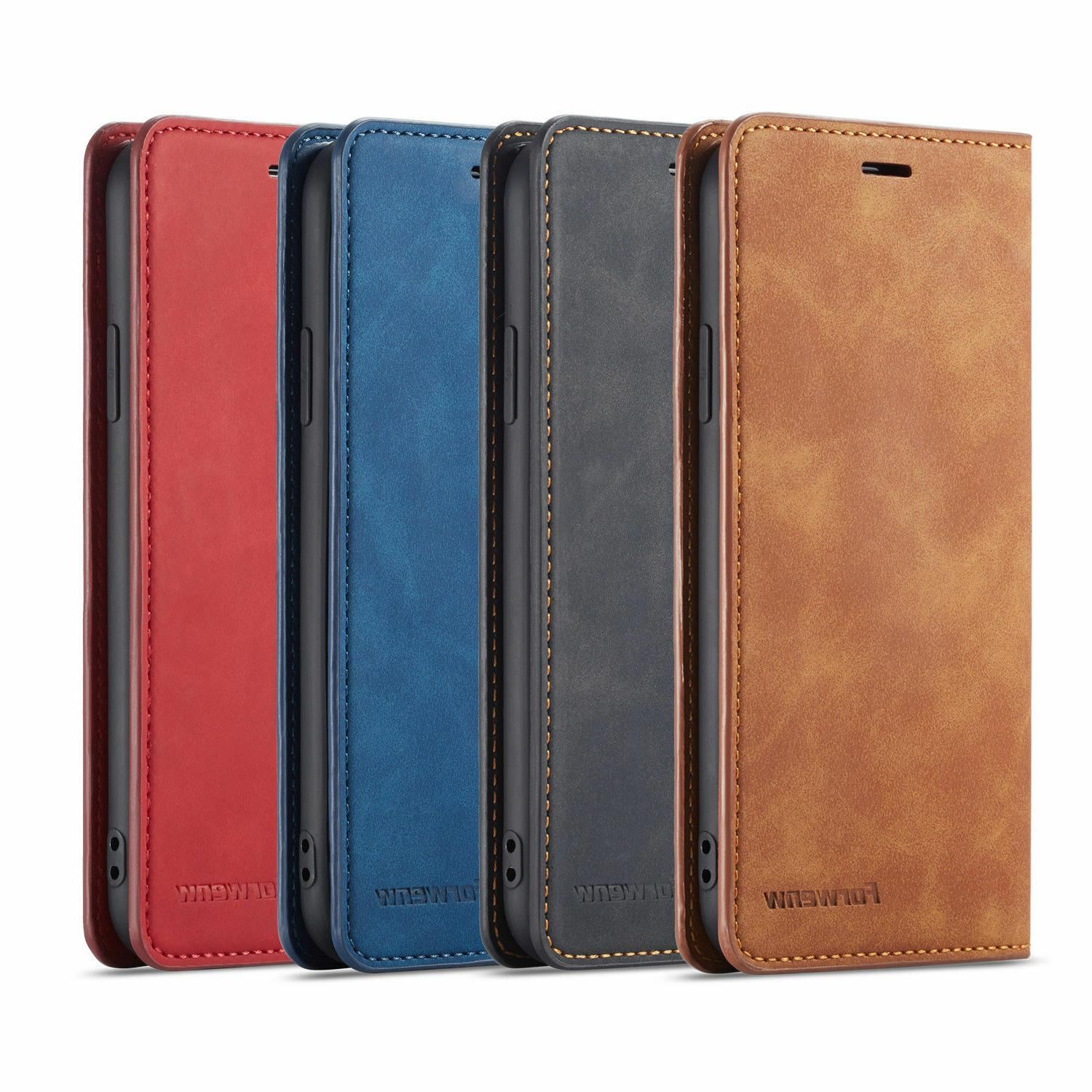 Leather Card Holder Case Cover For iPhone 7 Plus 11 Pro