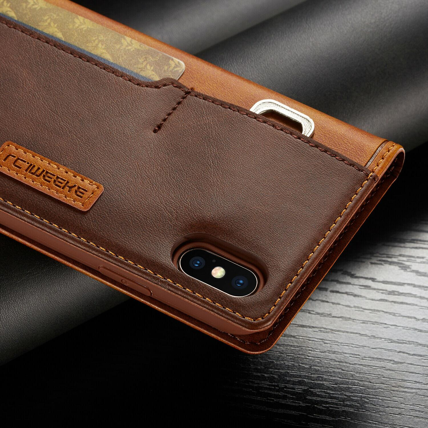 Leather Wallet Magnetic Card Case iPhone 11 XR 8/7/6