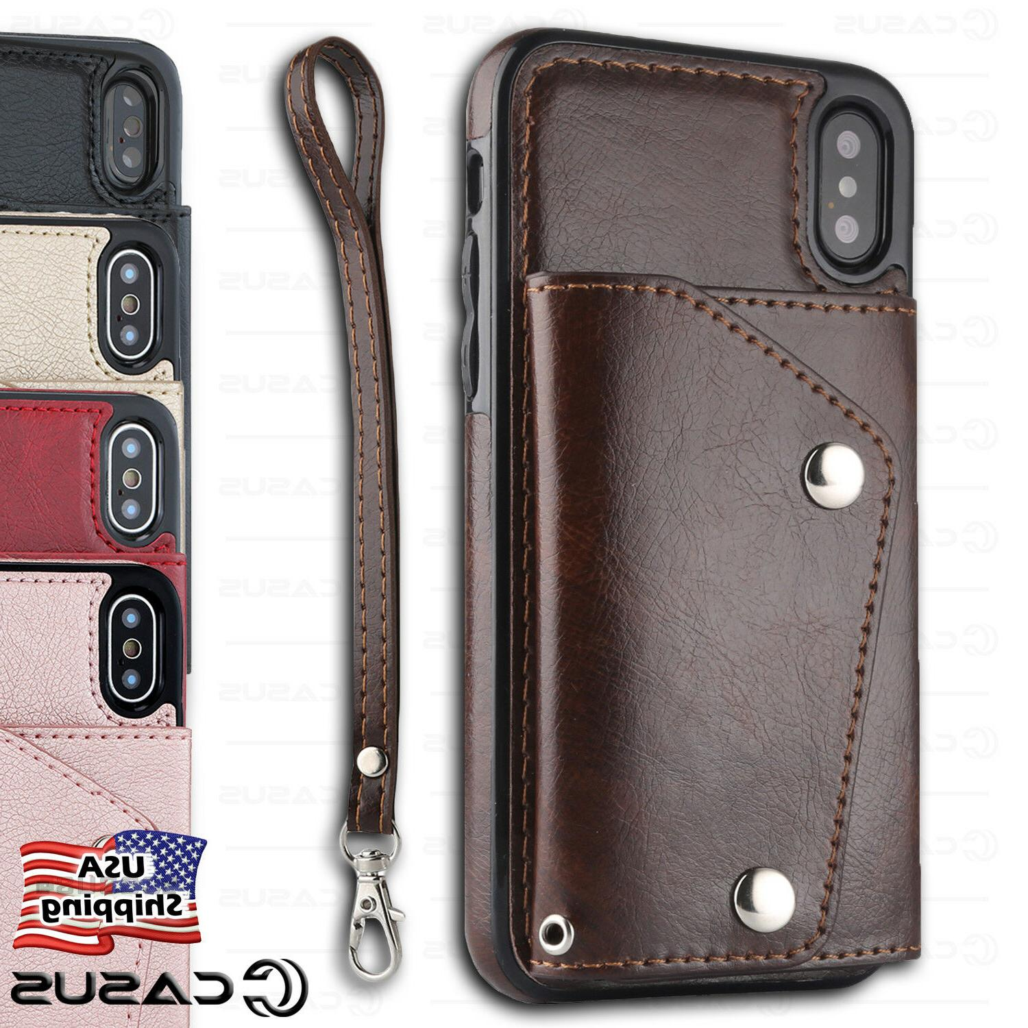 Leather Wallet with Strap Flip Cover Card Case FOR iPhone XS