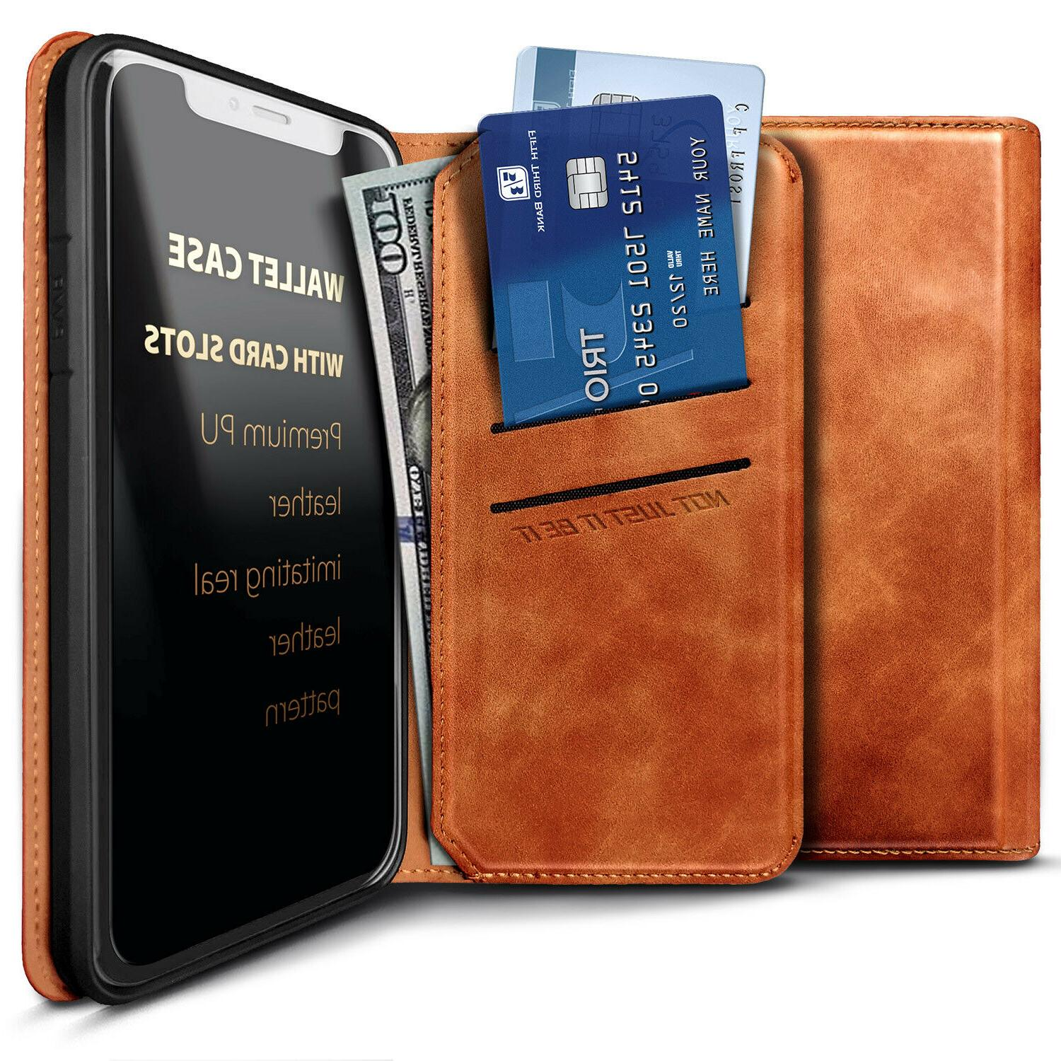 For Leather Wallet Case Magnetic Flip Card Phone