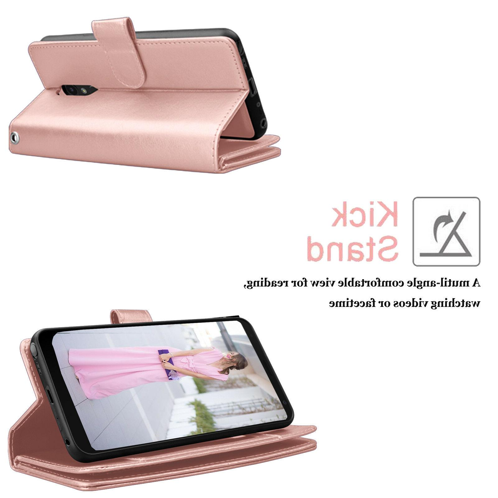 For LG Stylo / Leather Case With Card Kickstand