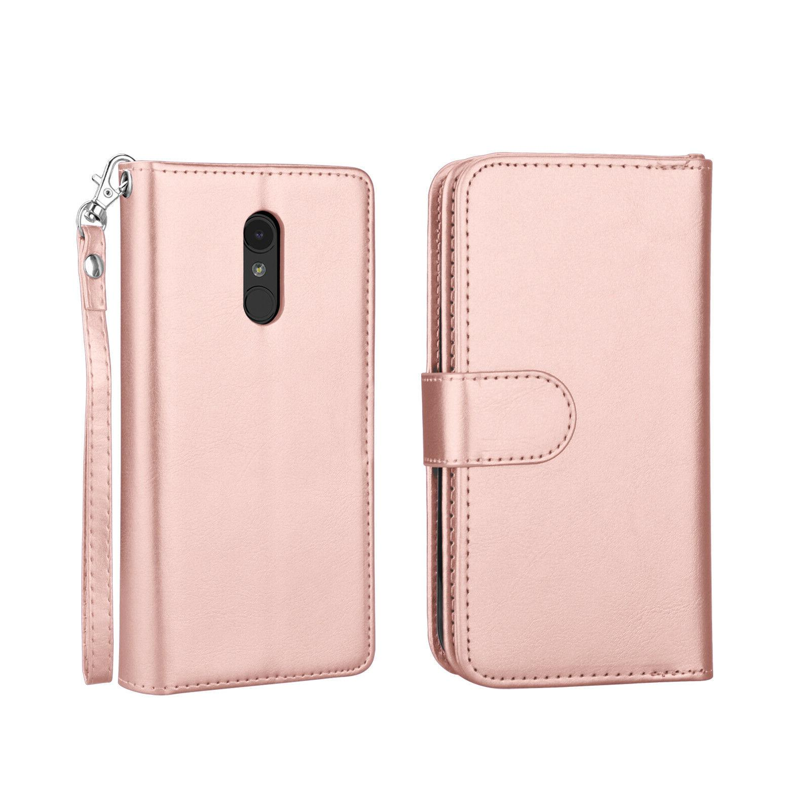 For LG 4 / Stylus Leather Case With Card Holder Kickstand