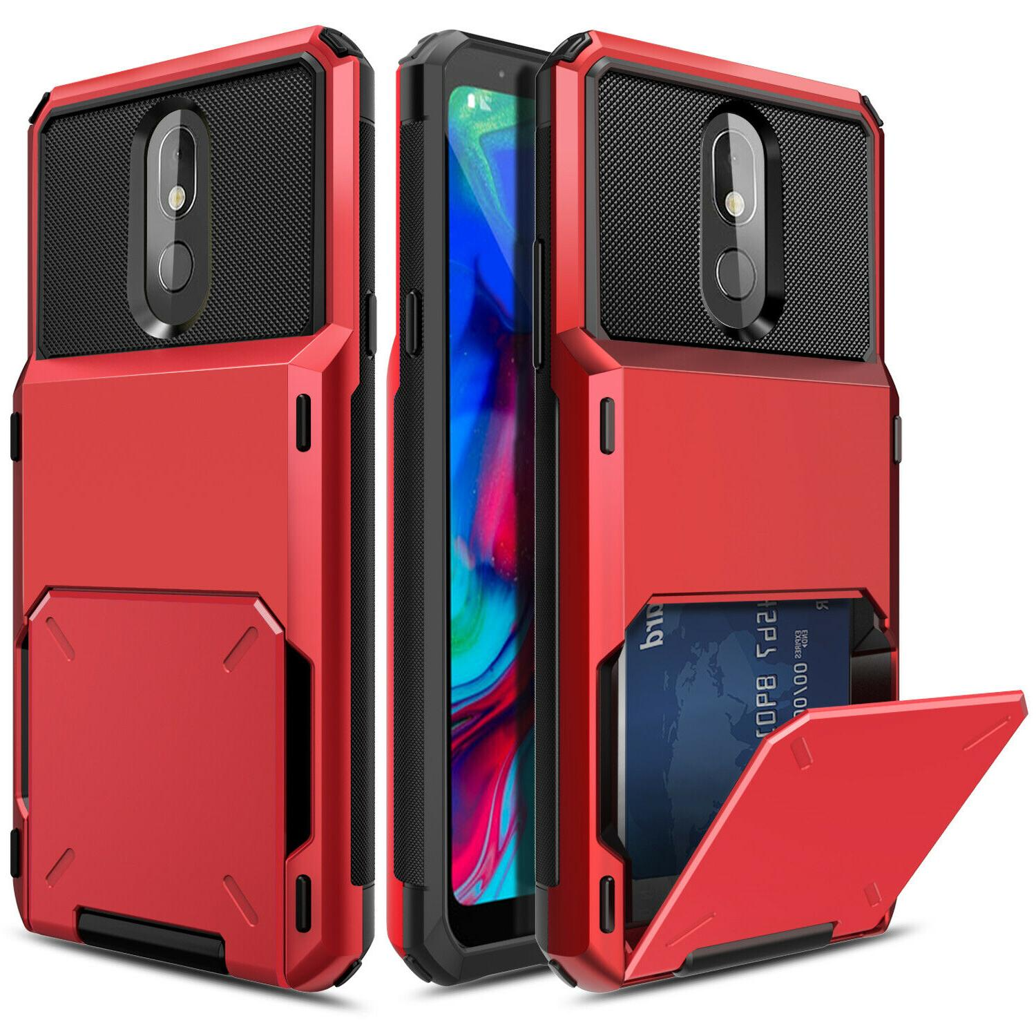 For LG Stylo Phone Shockproof Card Slot Armor Cover