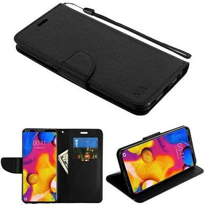For LG V30 Leather Flip Wallet Case Cover Stand Protective C