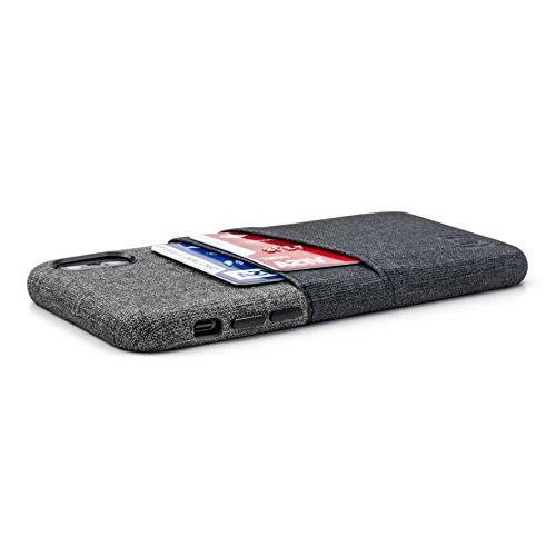 Dockem Wallet Case for iPhone Minimalist Card with UltraGrip Canvas Style Synthetic Slim Snap Cover w/ Card Holder
