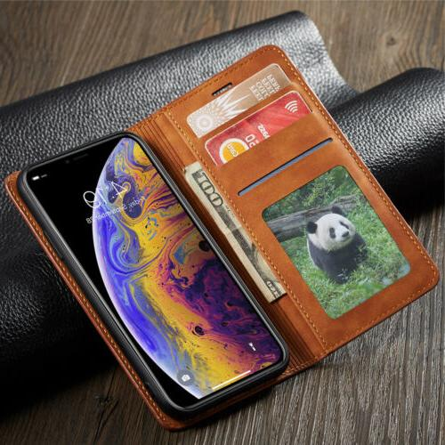 Luxury iPhone XS XR X 7 Leather Magnetic Case