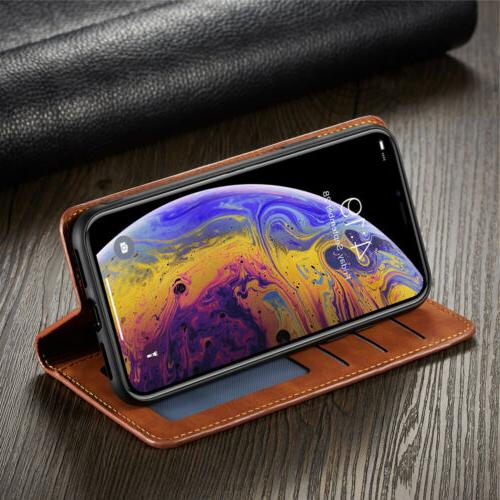 Luxury iPhone X 7 6S Leather Magnetic Case Cover