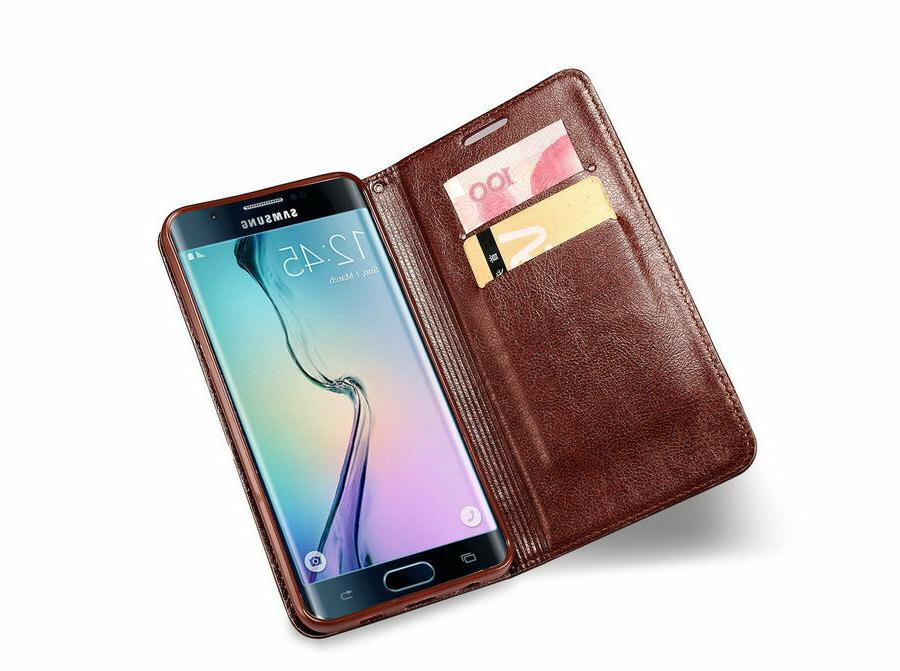 MaxGear® Leather Wallet Flip with Stand Samsung Edge Phone Cases