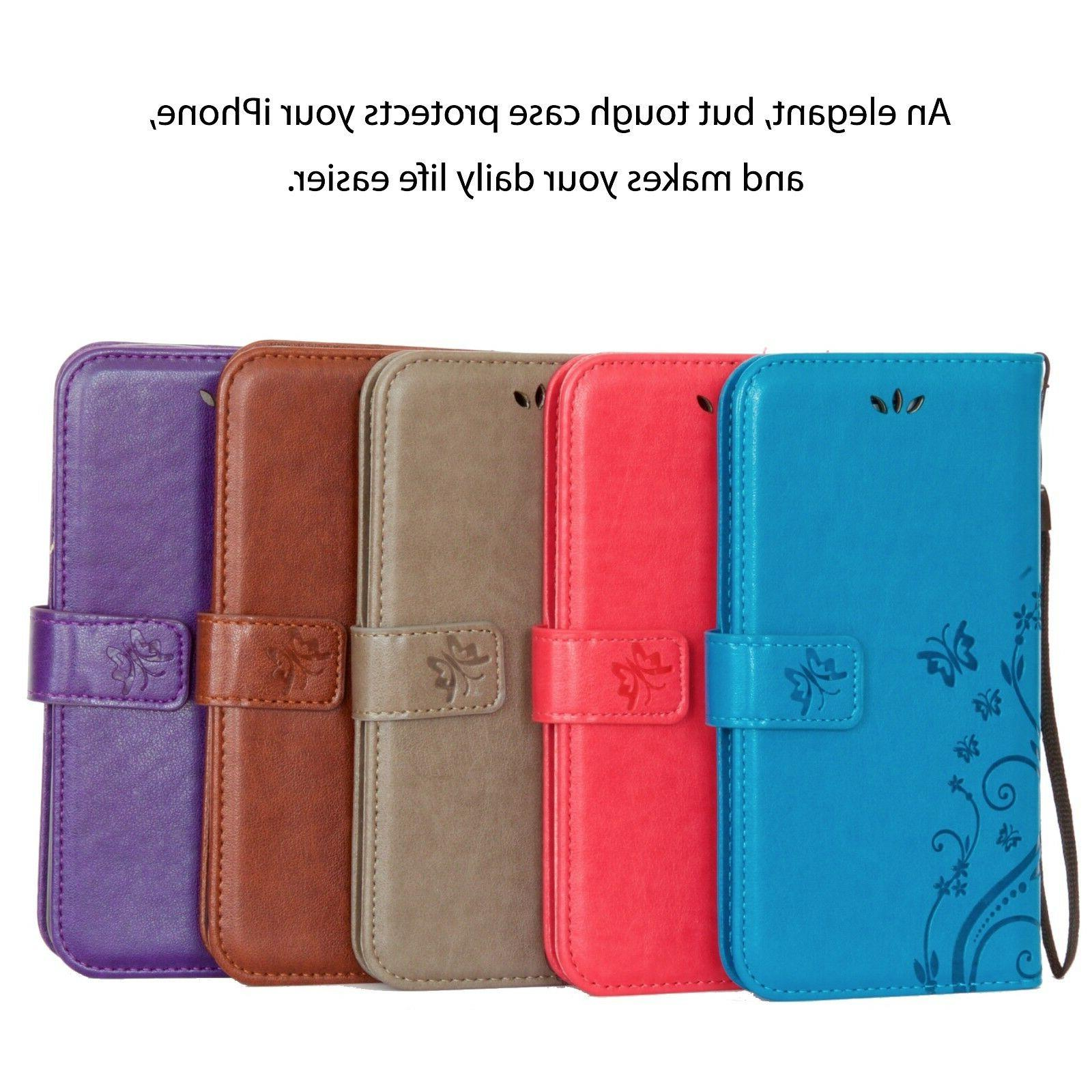 Luxury Cover Wallet Leather Apple 6//7/8/X/Plus